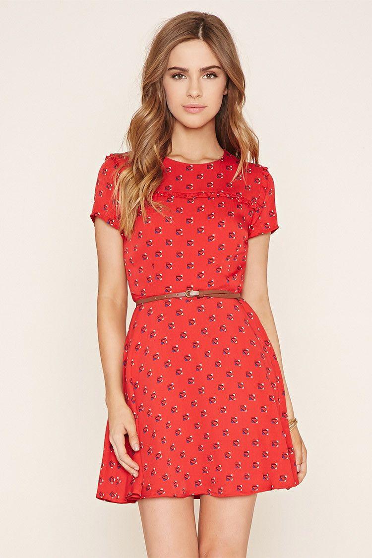 Belted Floral Skater Dress - Dresses - 2000181556 - Forever 21 UK