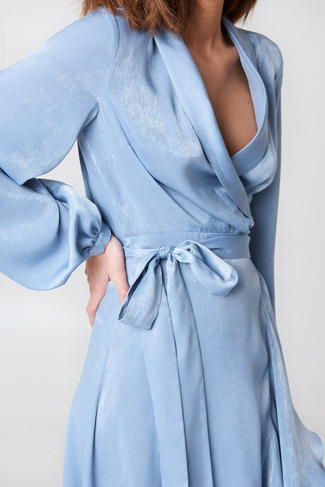 Wrap Over Satin Frill Dress