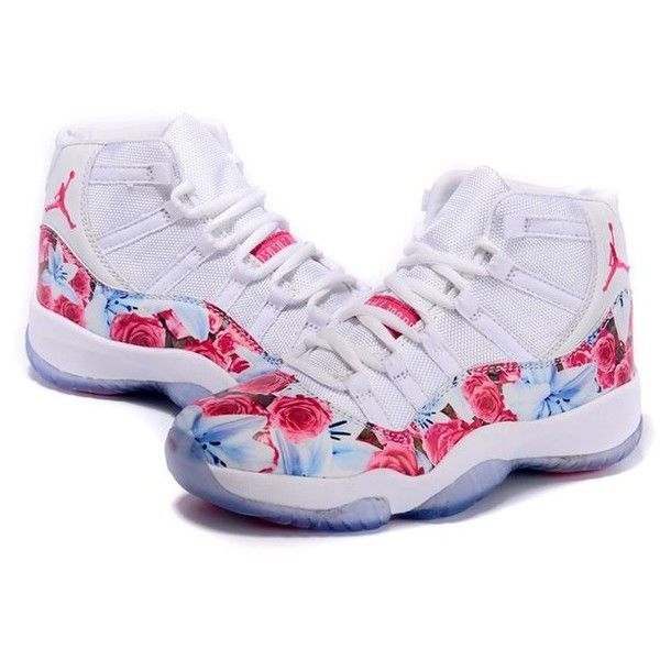 Cheap Girls Air Jordan 11 GS Floral Flower Print White Pink For Sale ❤  liked on Polyvore featuring jordan 91595e0ce