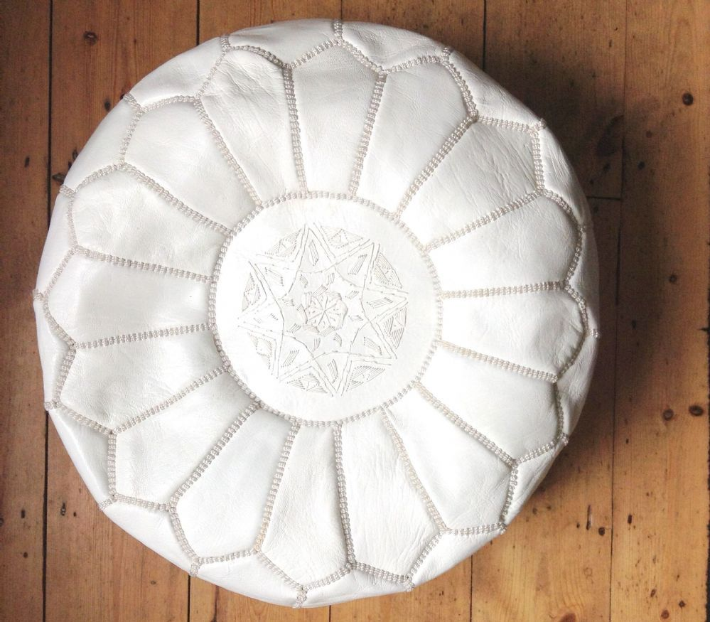 Handmade Leather Pouffe With Handsched Embroidery From Morocco White W50cm X H29cm Baoab Co