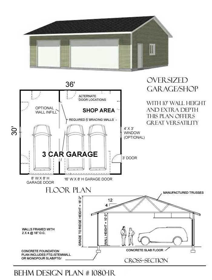 3 Cars Basic One Story Garage Plans By Behm 1080 1r 36 X30 Garage Workshop Layout Garage Plans 3 Car Garage Plans
