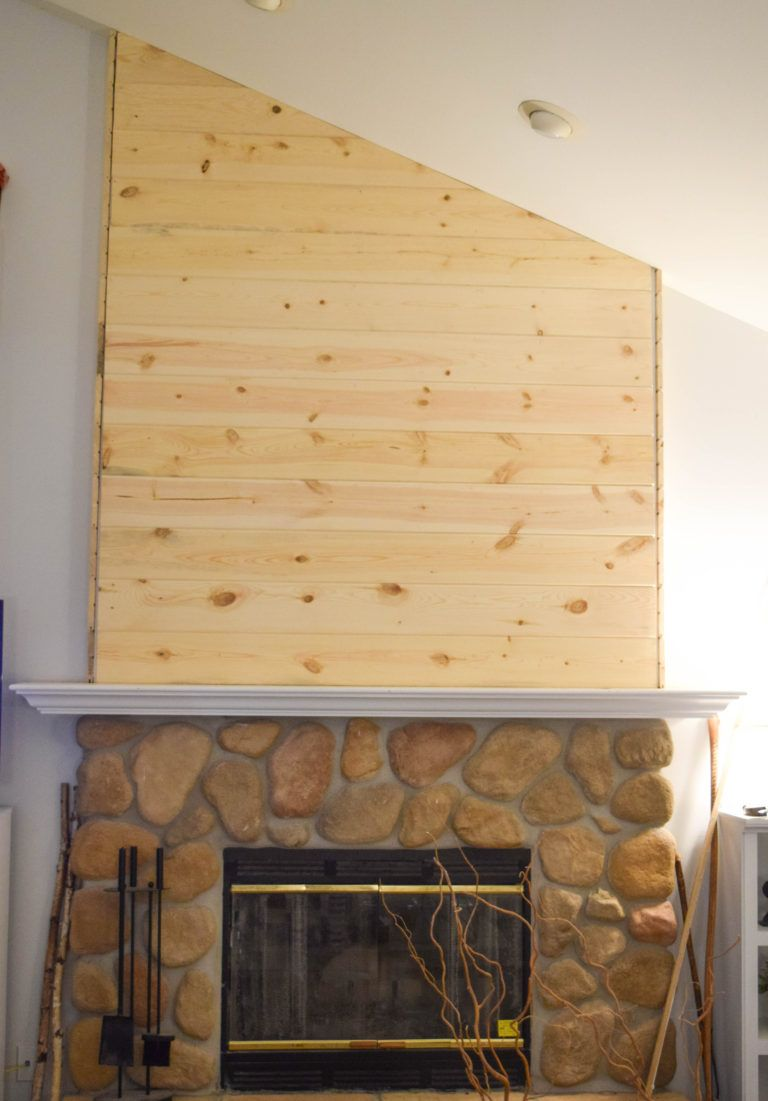 wood planks on fireplace feature wall | Ceilings, hallways,walls ...
