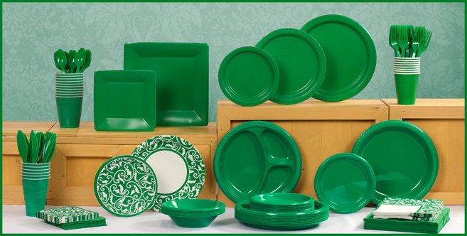 Festive Green Tableware - Dark Green Party Supplies - Party City Perfect for Micah\u0027s Party & Festive Green Tableware - Dark Green Party Supplies - Party City ...
