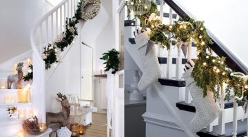 Feestdagen Natuurlijke Kerstdecoratie : Dit jaar mag de trap ook versierd worden met de feestdagen