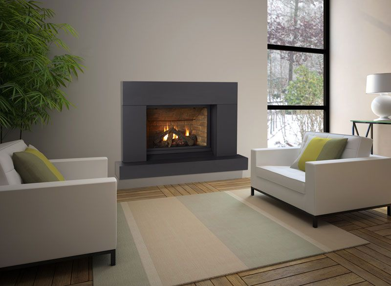 Fireplace surrounds flush with wall fireplaces for Gas modern fireplace