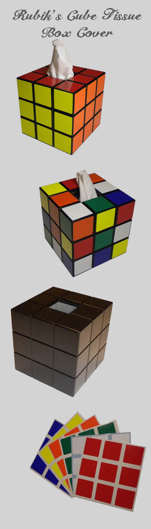 Rubiks cube tissue box cover handmade wooden bank that makes a great addition to your geek decor the bank is shipped black with loose stickers so it can