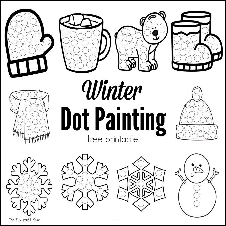 winter dot painting free printable boredom busters worksheets and activities. Black Bedroom Furniture Sets. Home Design Ideas