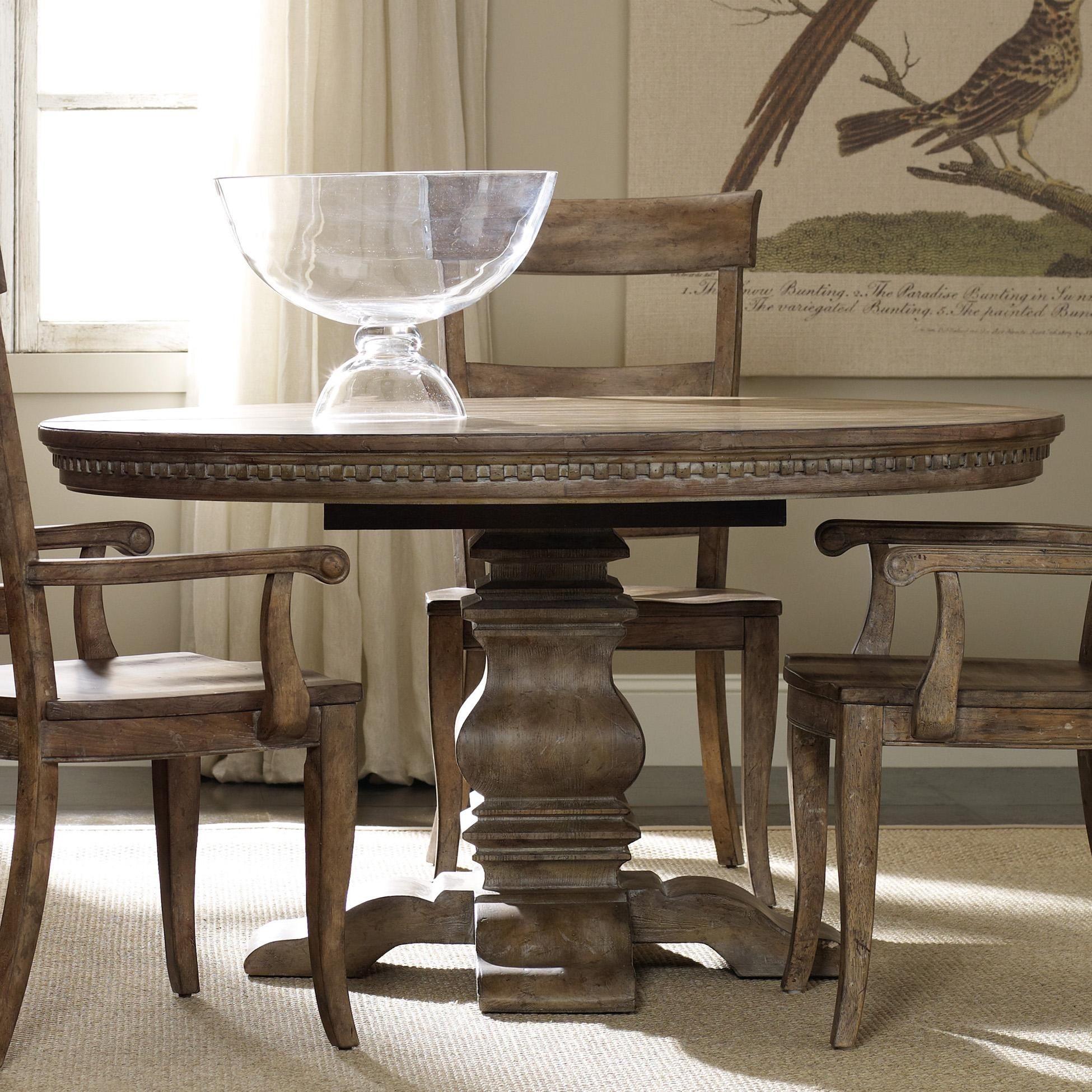 "Sorella Round Dining Table with Pedestal Base and 20"" Extension"