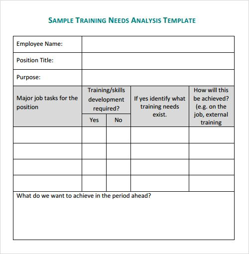 Training Needs Analysis Template  Npo    Template