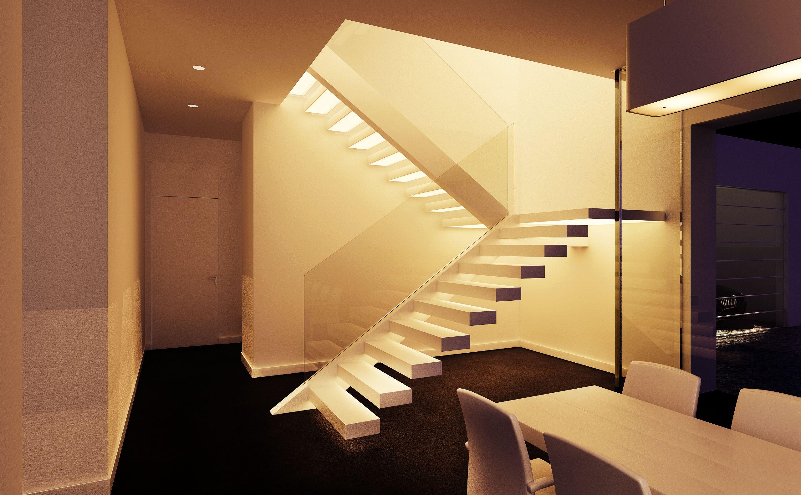 Kragarmtreppe mit Stufen aus Corian von innen mit LED beleuchtet www ...
