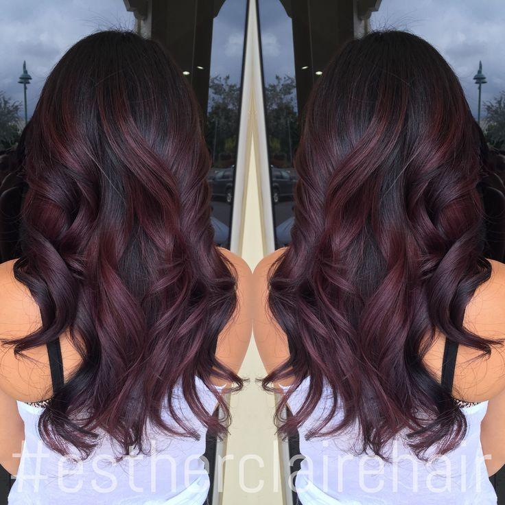 lila slingor brunt hår