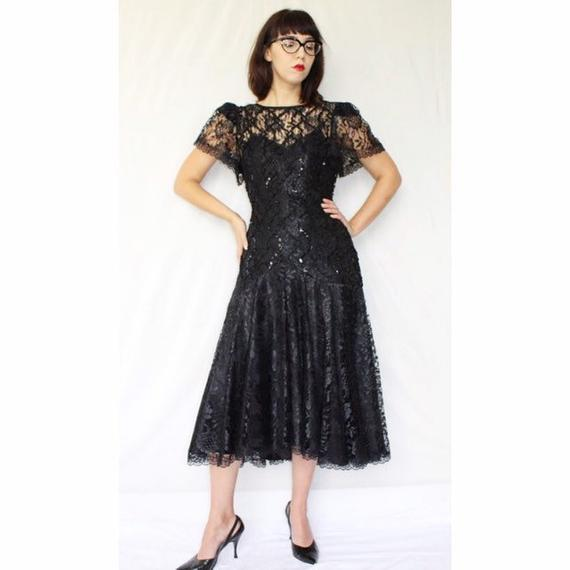 Vintage Tea Length Black Dresses