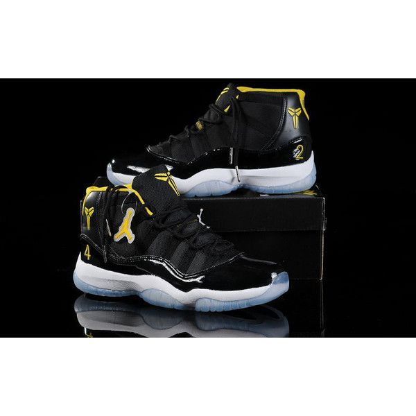 brand new 9b925 058aa New Nike Jordan 11 Basketball Shoes Black Yellow J11-165 via Polyvore