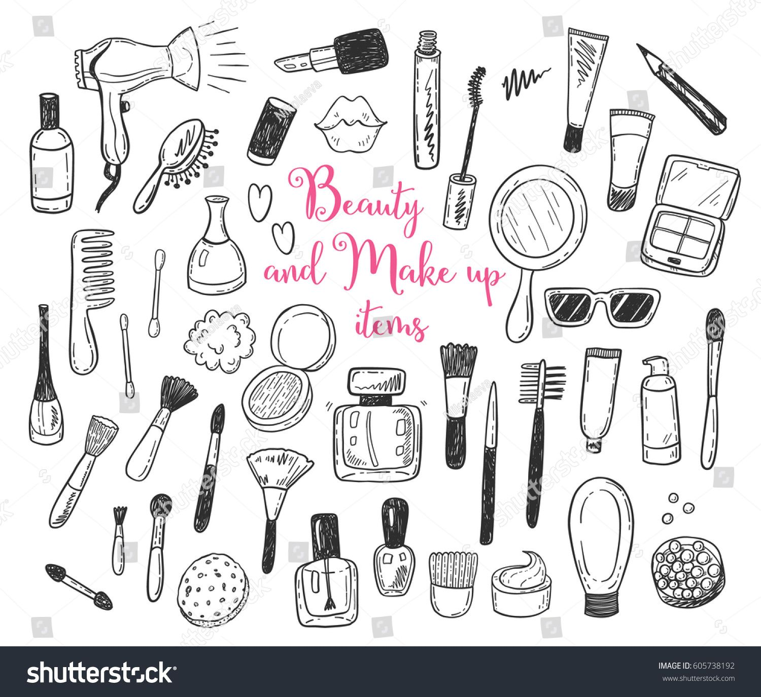 Hand Drawn Beauty Make Up Cosmetic Doodles Isolated Vector Illustrations On A White Background Doodle Images How To Draw Hands Makeup Drawing