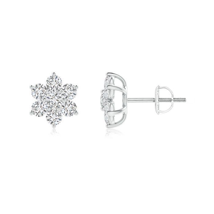Angara Daisy Flower Stud Earrings with Pave Set Diamonds 15h98