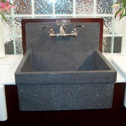 gray terrazzo Kohler Gilford sink with integral drainboard