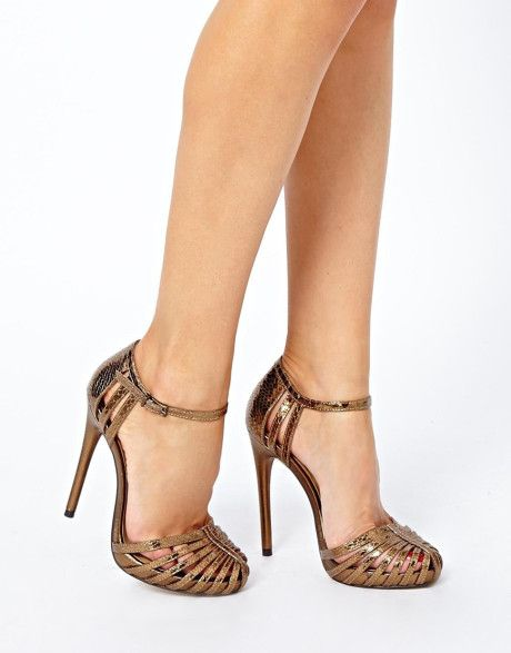 25766d1e3e2b Steve Madden Asos Handwritten Heeled Sandals in Gold (Bronze)