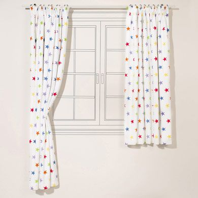 Rainbow Star Blackout Curtains For Kids Pair