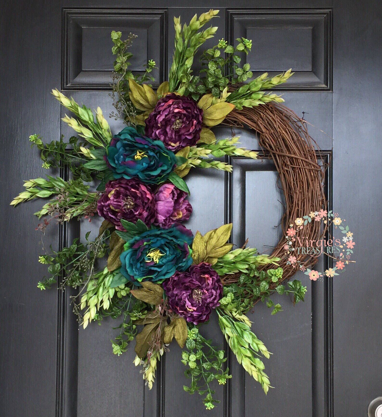 Photo of Premium Deluxe Teal and Purple Peony Grapevine Wreath-Front Door Wreath-Everyday Wreath-All Season Wreath-Mother's Day-Peony Wreath-Peacock