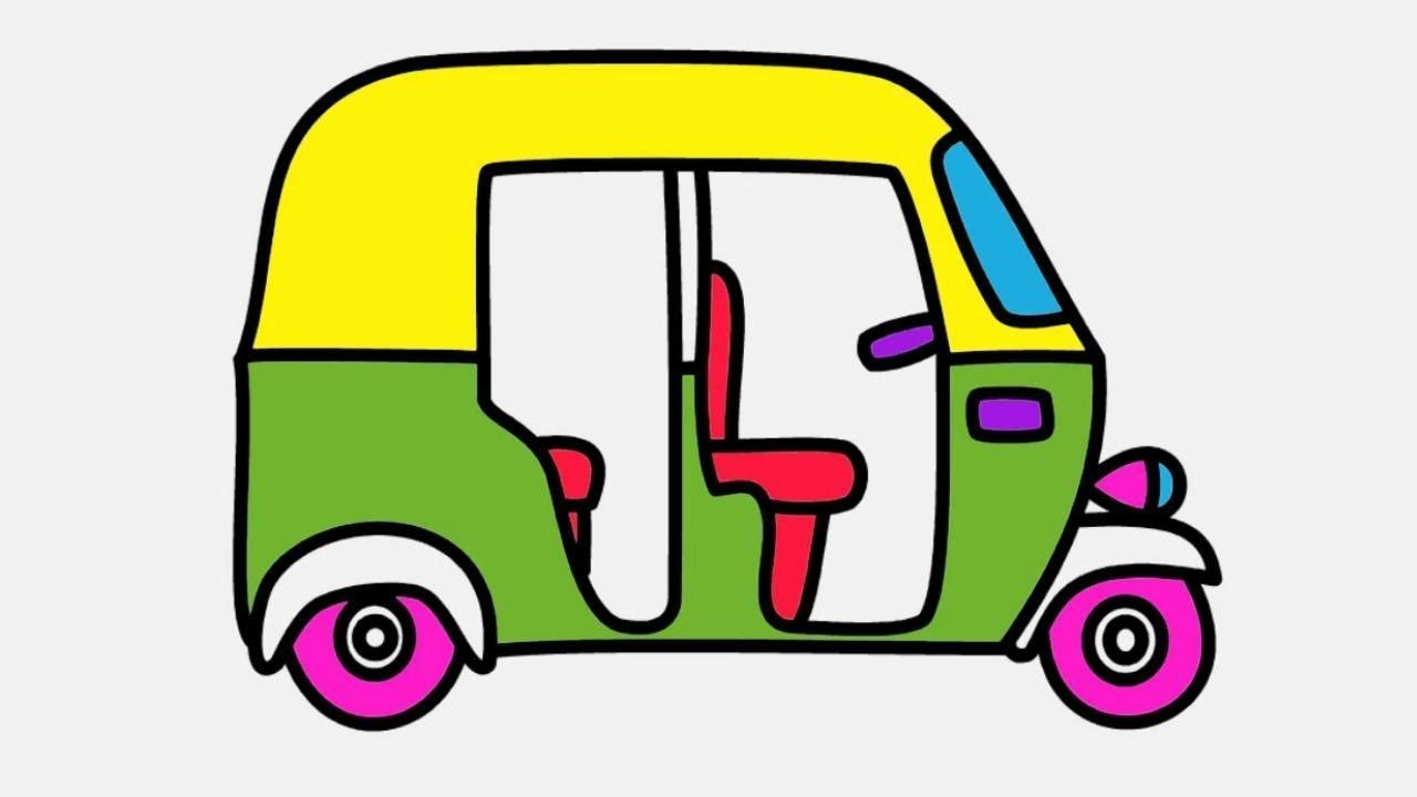 Auto Rickshaw Drawing And Coloring For Kids Drawing In 2019