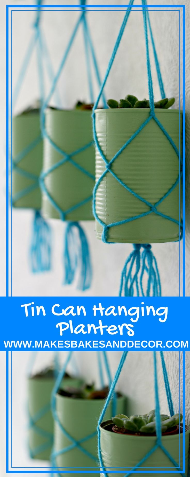 TIN CAN hanging planters are a fun DIY to upcycle your tin cans. A great tin can craft for you to use around the home. #tincans #tincancrafts #macrame #craft #upcycle #plants