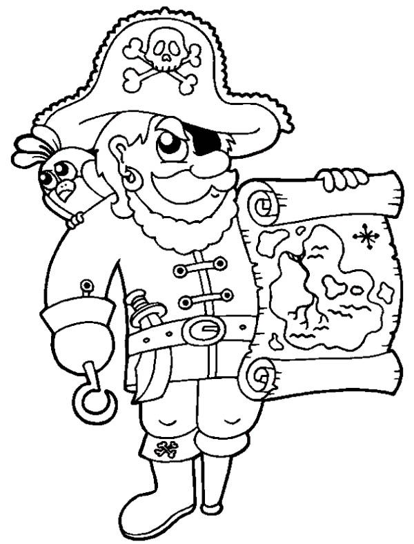 treasure map awesome pirate with treasure map coloring page