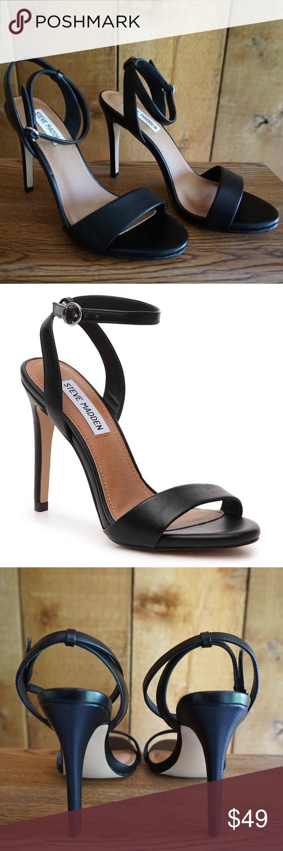 Black Ankle Strap Open Toe Heels NWOT