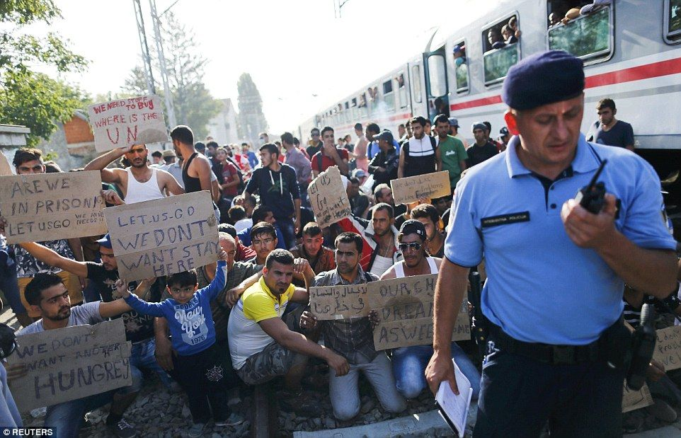 Making A Point Placard Waving Migrants Staged A Protest As They Waited At The Tovarnik Railway Station In Croatia This Morning Mor Croatia Breakouts Placards