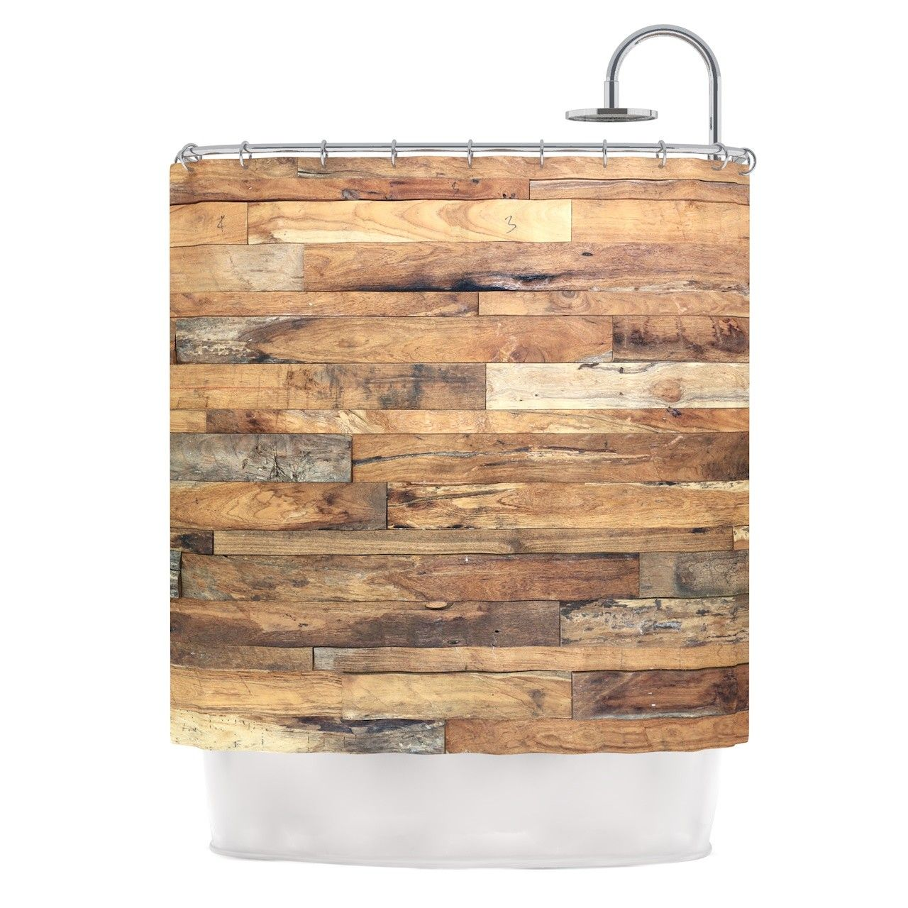 Campfire wood by susan sanders rustic shower curtain