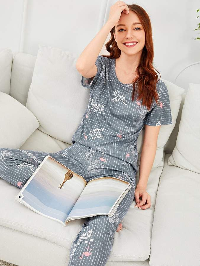 d620b575f7 Shein Flamingo & Leaf Print Striped Pajama Set #Leaf#Flamingo#Shein ...