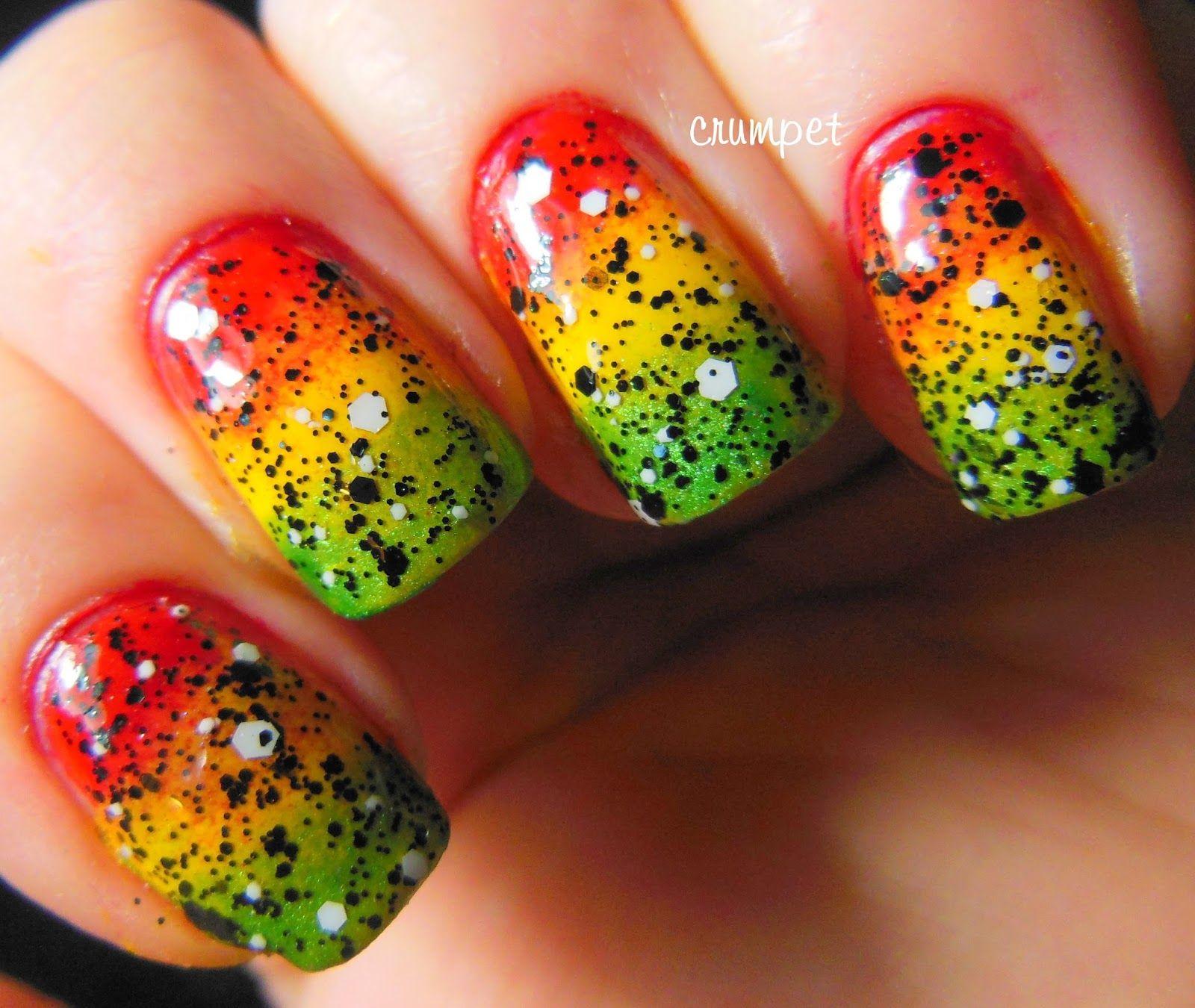 Tri Polish Challenge - Rasta Nails | ice gold green | Pinterest ...