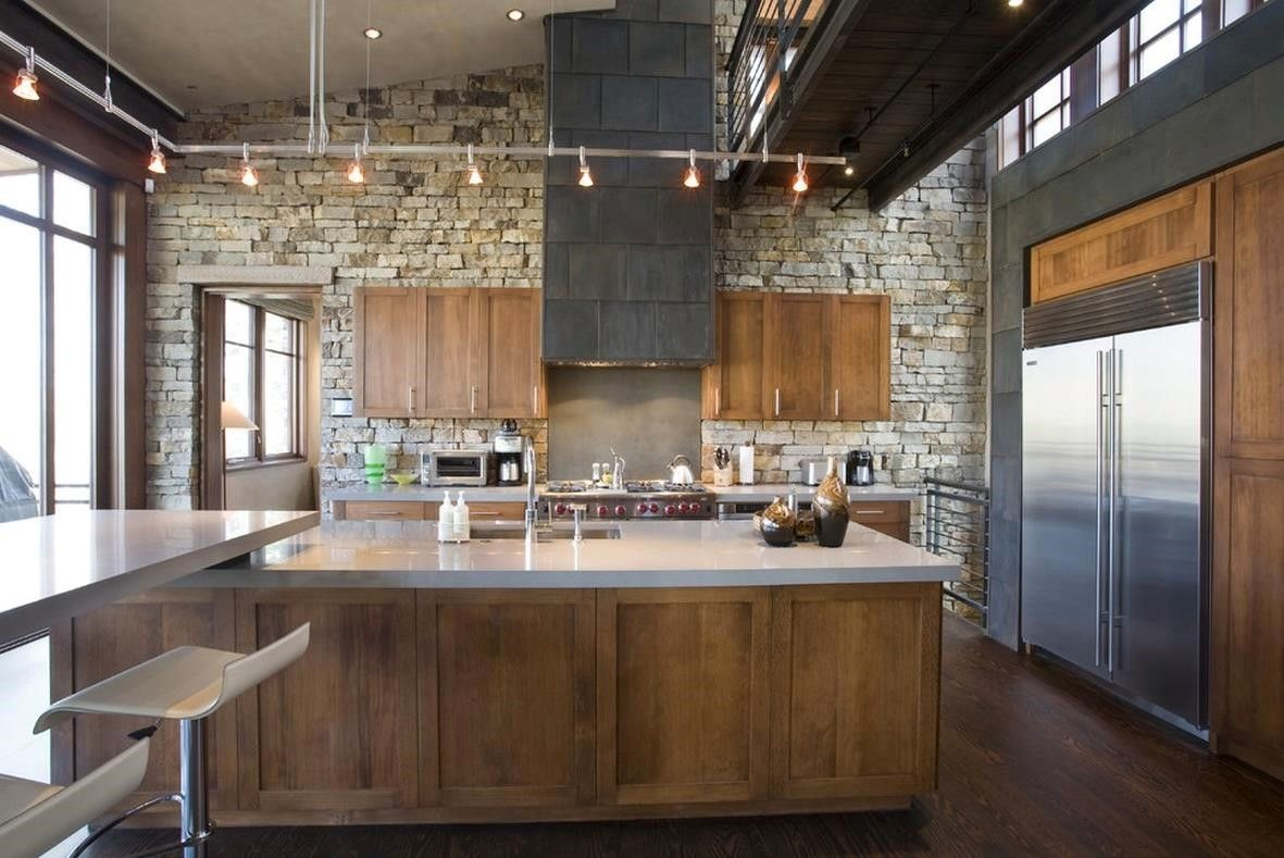 Wonderful Classic Kitchen Style Ideas With Stone Wall Decor And Lighting  Above Kitche Island As Well White Marble Countertop Along With Hardwood  Flooring ...