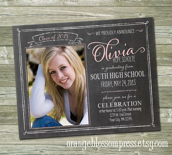 chalkboard graduation announcement custom photo graduation