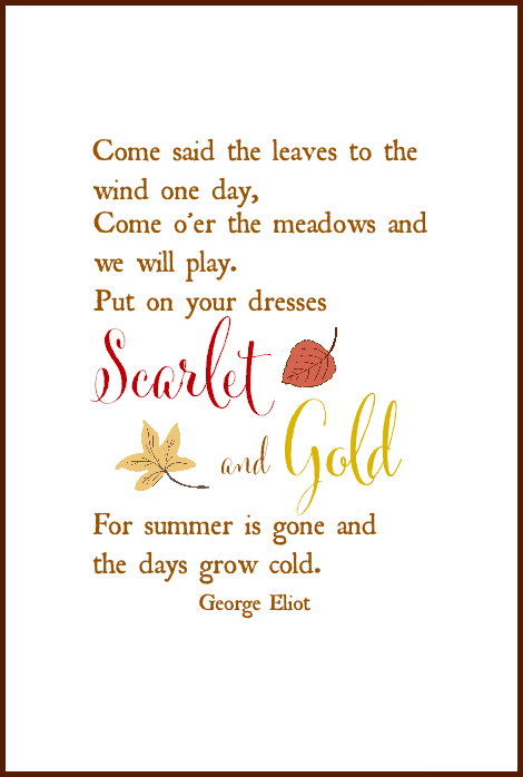 Charmant Fall Free Printable | George Eliot Quote | On Sutton Place