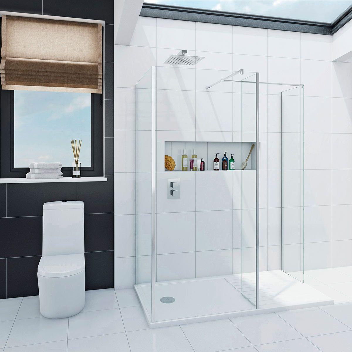 Mode Spacious luxury 8mm 3 sided walk in shower enclosure with tray ...