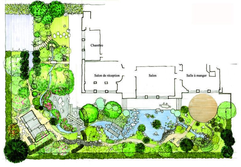 Conception d\'un jardin japonais – Un plan détaillé | M2, 1100; and Un