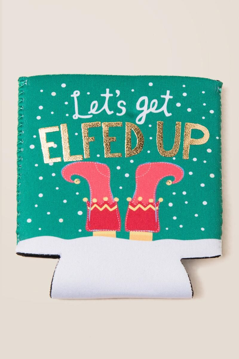 Let's Get Elfed Up Can Coozie | Christmas captions ...