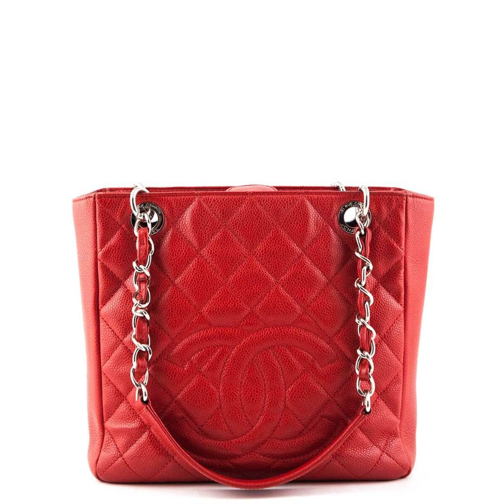 Chanel Red Caviar Petit Shopping Tote Shw Preloved Chanel Bags Chanel Handbags Shopping Tote Ostrich Leather