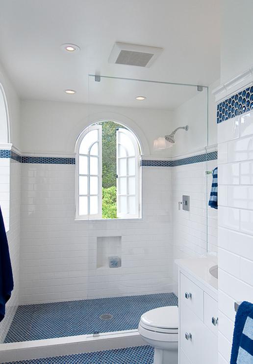 Boys Bath High Border And Bold Floor Like The Dark Blue It Will Mask Boy Dirt Cottage Bathroom Penny Tiles Bathroom White Bathroom