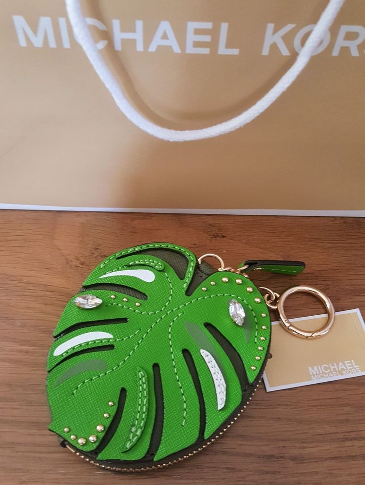 96fbe825af5423 MICHAEL KORS PALM LEAF JUNGLE COIN PURSE POUCH WALLET w/KEYRING NWT # MichaelKors #CoinPurse