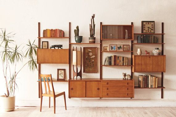 danish mid century modern modular teak wall unit | teak, mid