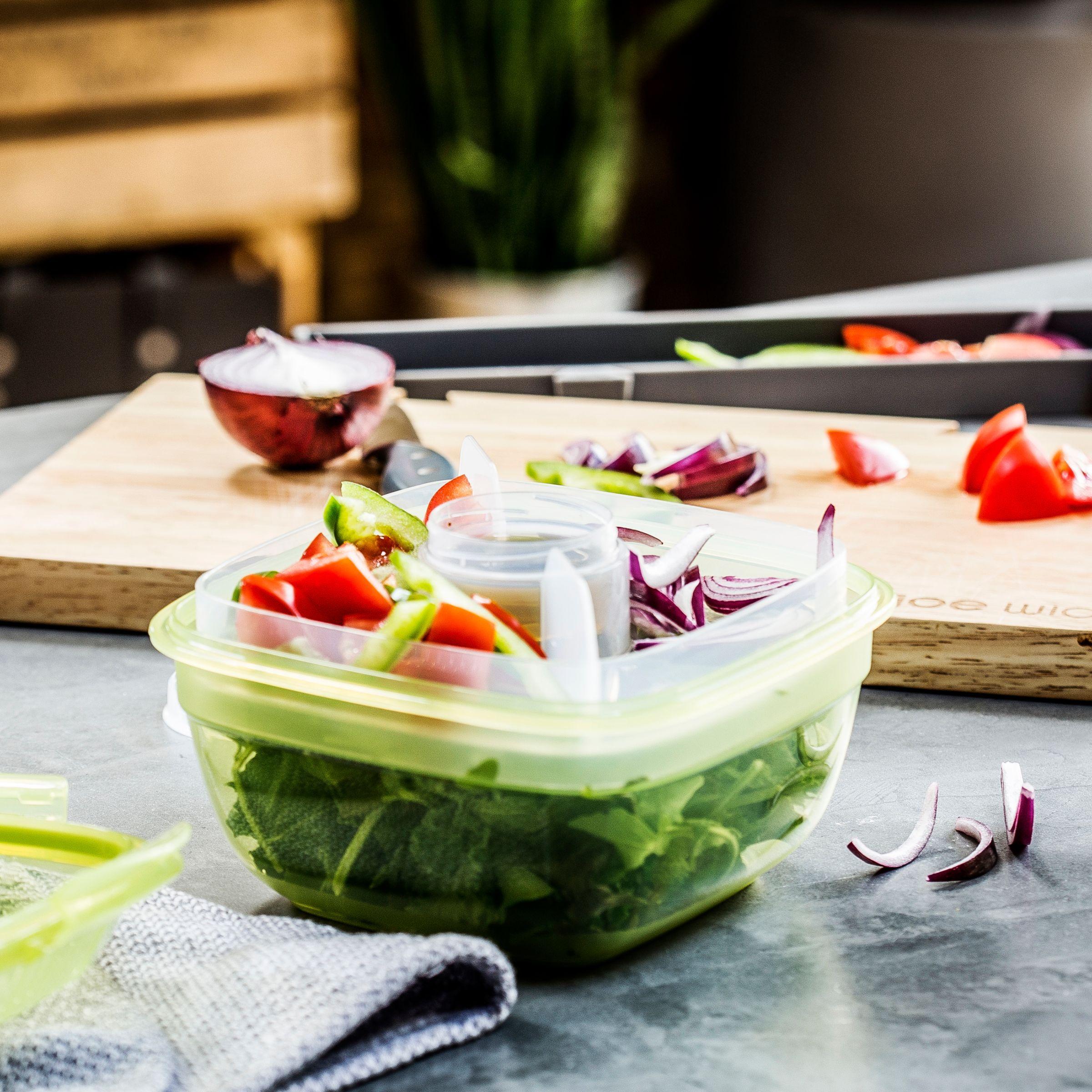 Joe Wicks Airtight Salad Lunch Box Green Clear 950ml Salad Lunch Box Lunch Joe Wicks