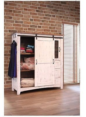White Eliza Sliding Barn Door Gentlemans Chest Armoire Solid Wood Quality Furniture Shabby Chic Furniture Chic Furniture
