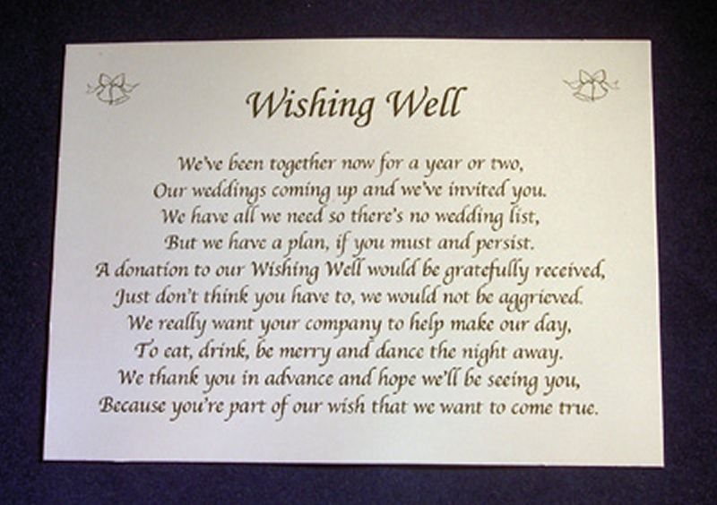 Personalised Small Wedding Wishing Well Poem Cards Money Request