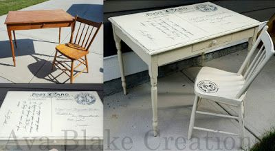 Ava Blake Creations: Custom Antique Postcard Table and Chair Set