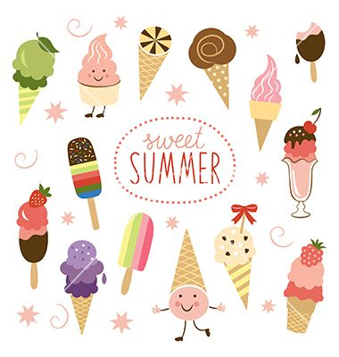 Ice cream sweet collection vector summertime cartoons - by Lenlis on