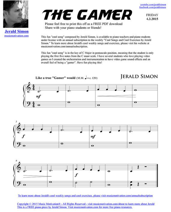 The Gamer Free Pdf Piano Music By Jerald Simon Published By