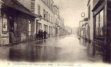 París. Carta postal. Inundaciones París en enero de 1910. Rue Félicien David