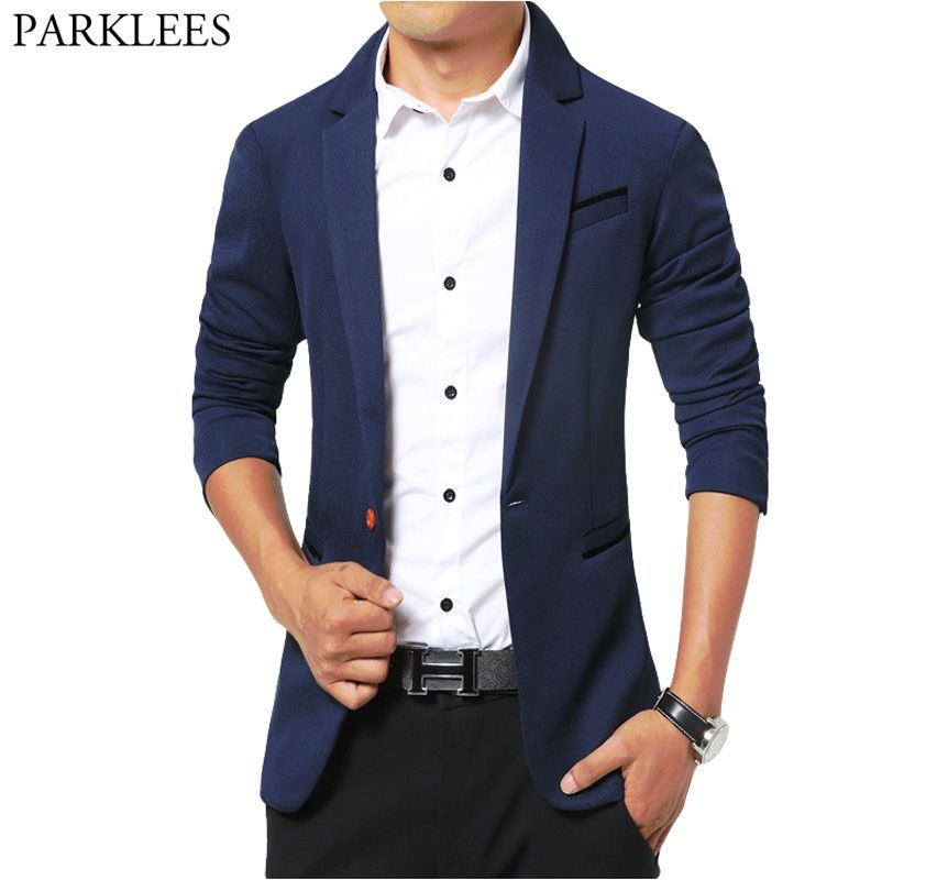 0f6b228a5a3 Casual Solid Color Blazer Men 2018 Spring New Cotton Blazer Masculino Mens  Slim Fit Single Button Blazers Suits Costume Homme