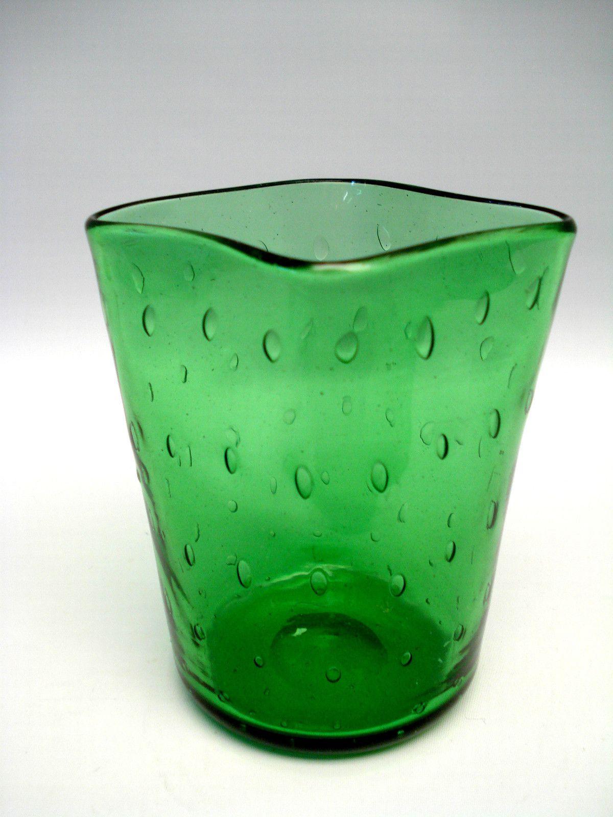 GREEN BULLICANTE TUMBLER GLASS CIGARETTE HOLDER. 4 x 3.5in